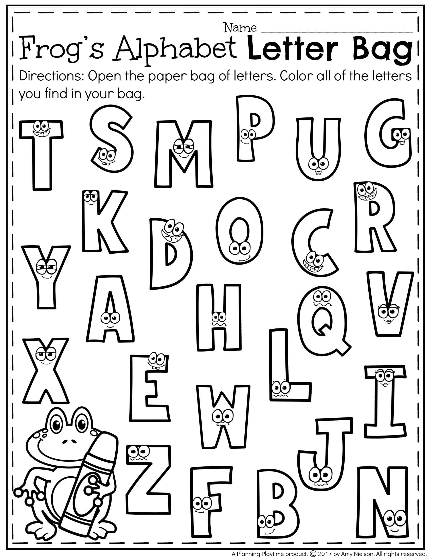 Printables Preschool Recognition Kindergarten Letter Games pertaining to Alphabet Recognition Worksheets Printable