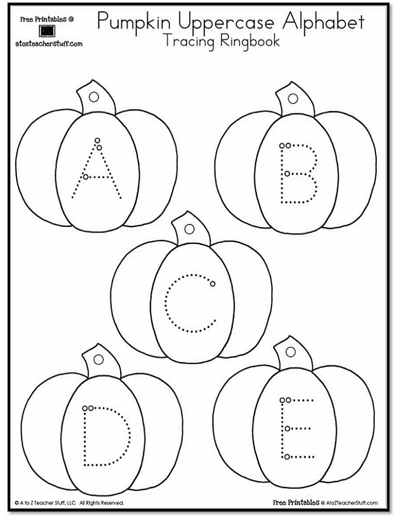 Pumpkin Lowercase And Uppercase Tracing Alphabet | A To Z