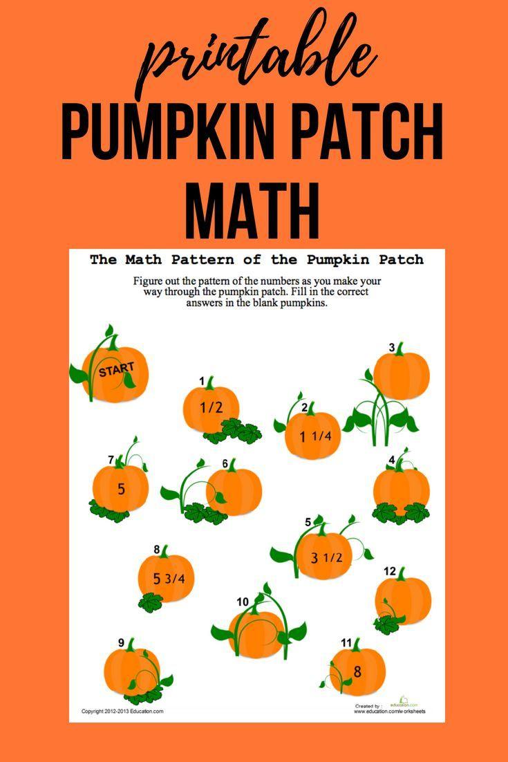 Pumpkin Patch Math | Worksheet | Education | Pumpkin