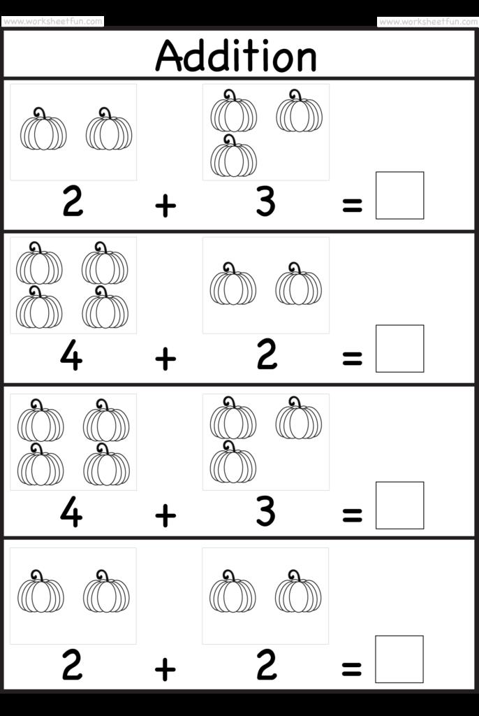 Pumpkin Picture Addition – Kindergarten Addition Worksheet