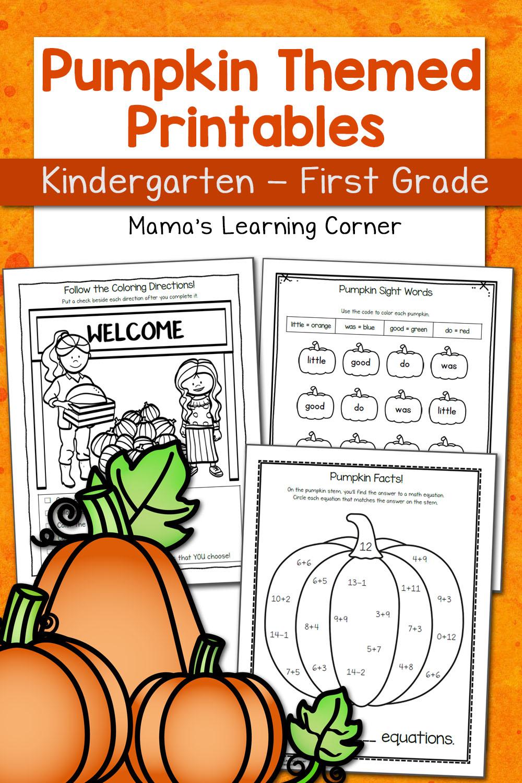 Pumpkin Worksheets For Kindergarten And First Grade - Mamas