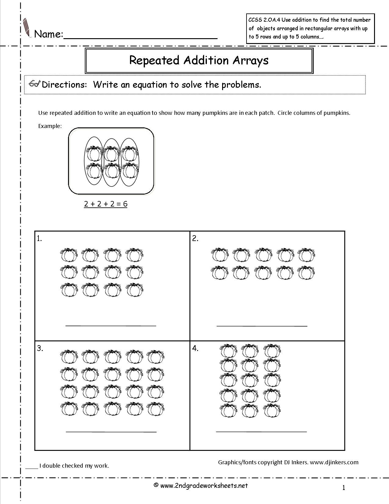 Pumpkins Repeated Addition Worksheet | Repeated Addition