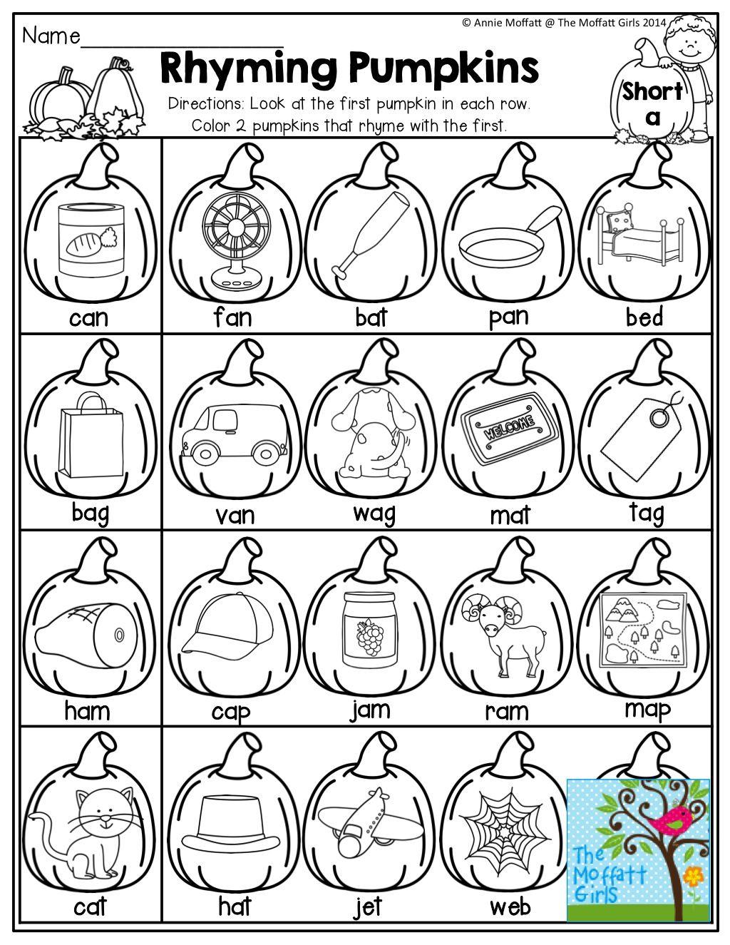 Pumpkins That Rhyme! | Fall Kindergarten, Rhyming Worksheet