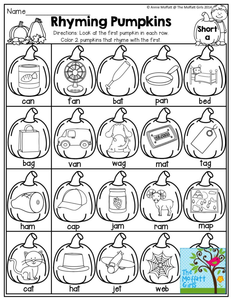 Pumpkins That Rhyme!   Fall Kindergarten, Rhyming Worksheet