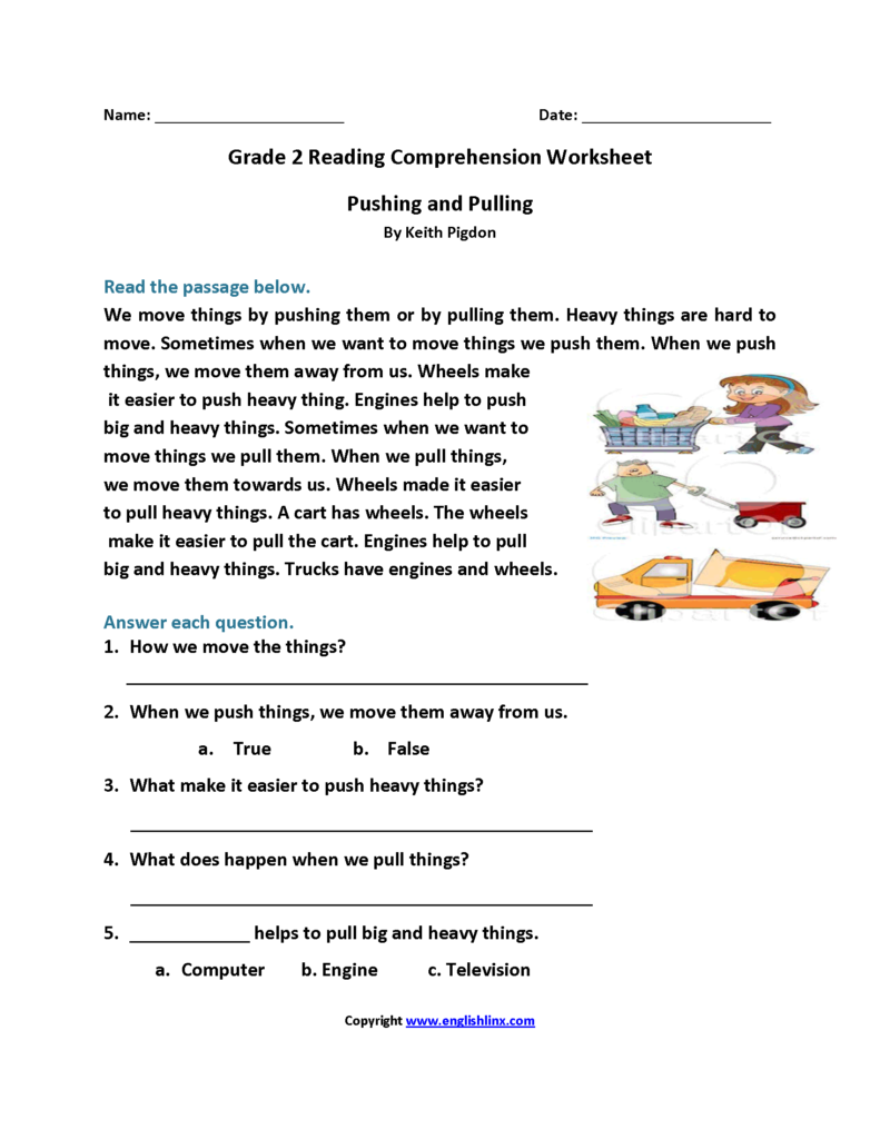 Pushing And Pulling Second Grade Reading Worksheets Elad