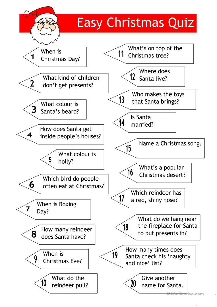 Quiz - Easy Xmas Quiz - English Esl Worksheets For Distance