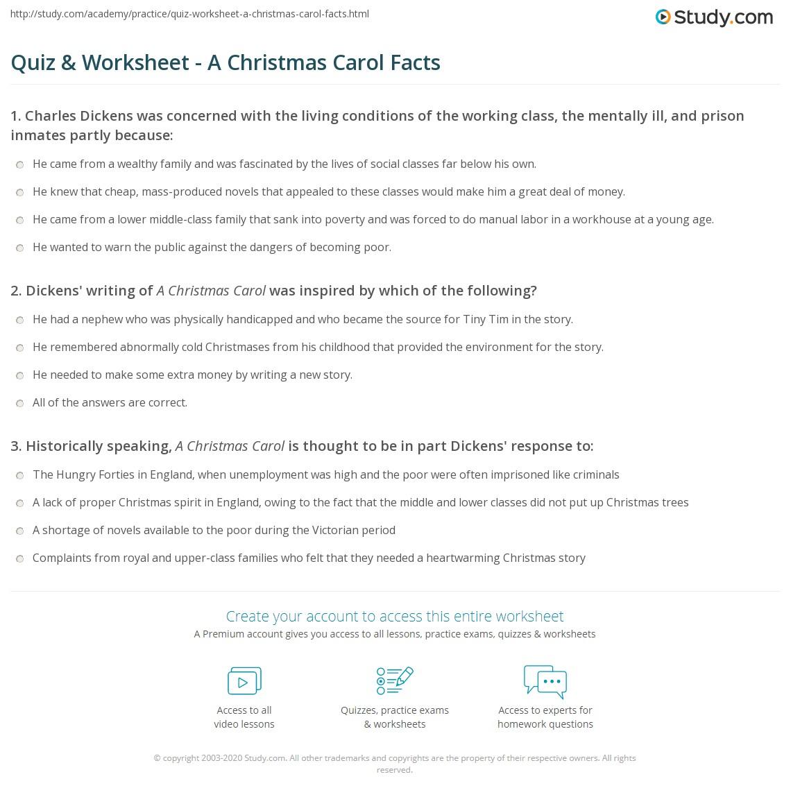 Quiz & Worksheet - A Christmas Carol Facts | Study