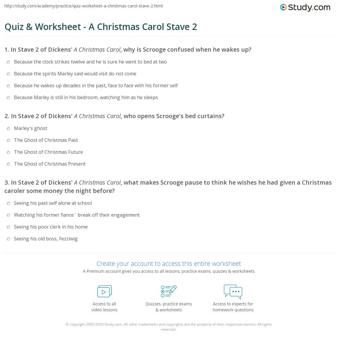 Quiz & Worksheet - A Christmas Carol Stave 2 | Study