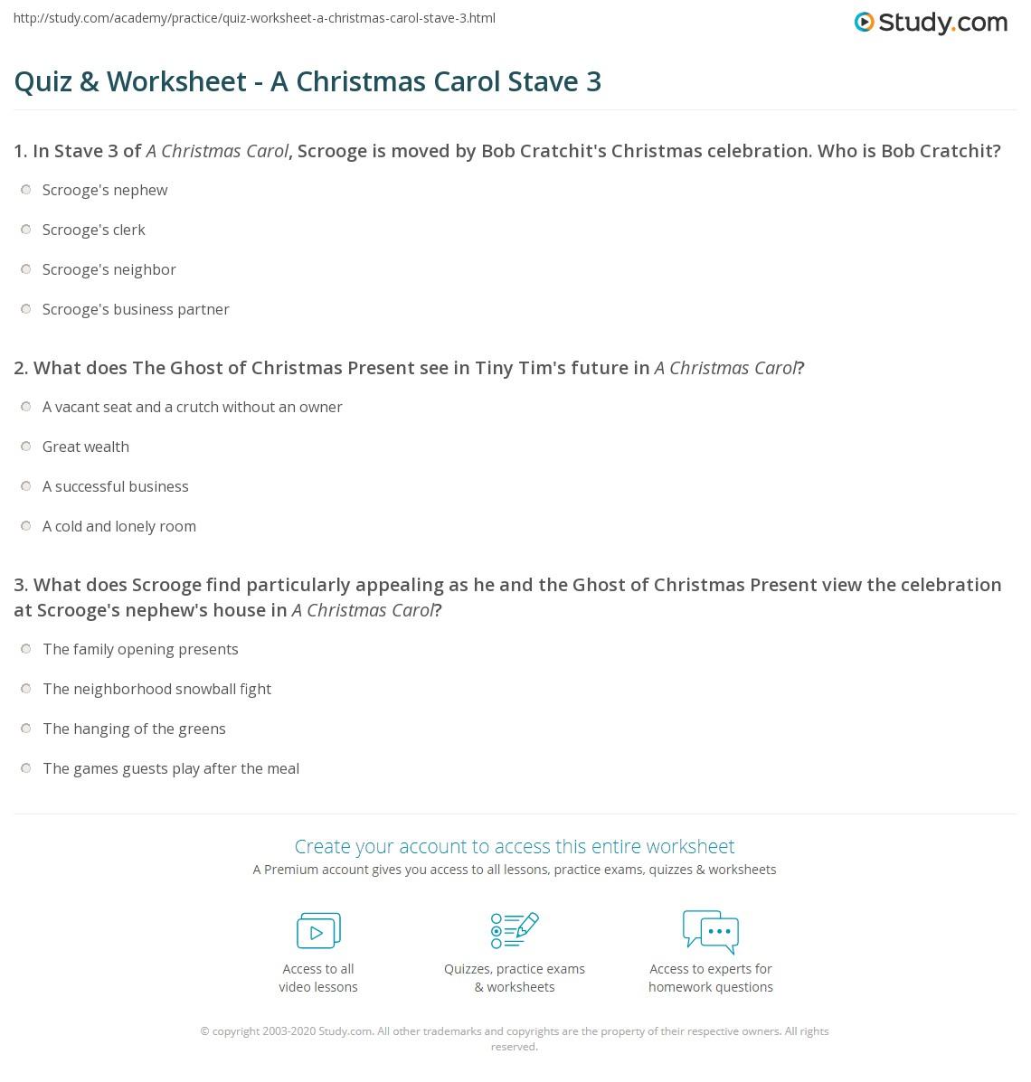 Quiz & Worksheet - A Christmas Carol Stave 3 | Study