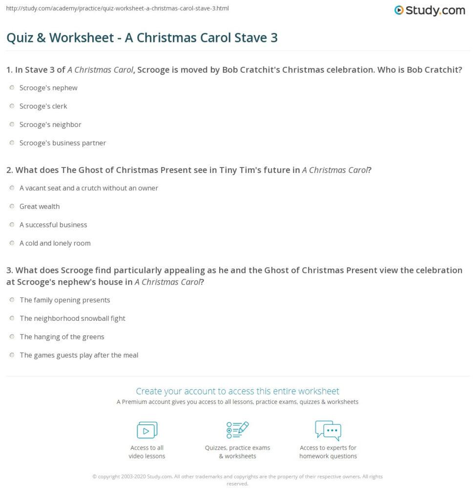 Quiz & Worksheet   A Christmas Carol Stave 3 | Study