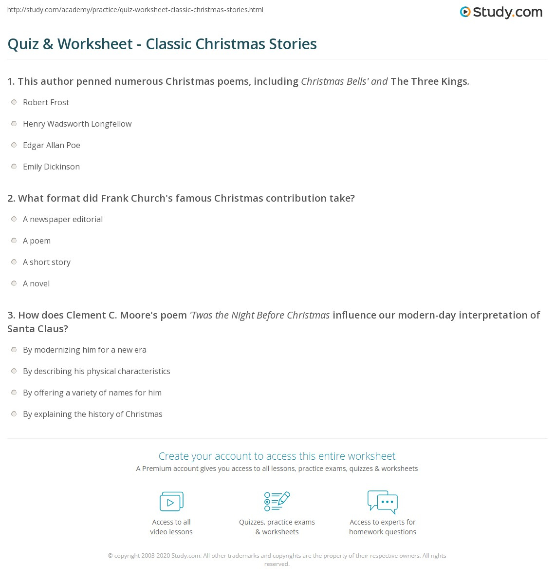 Quiz & Worksheet - Classic Christmas Stories | Study