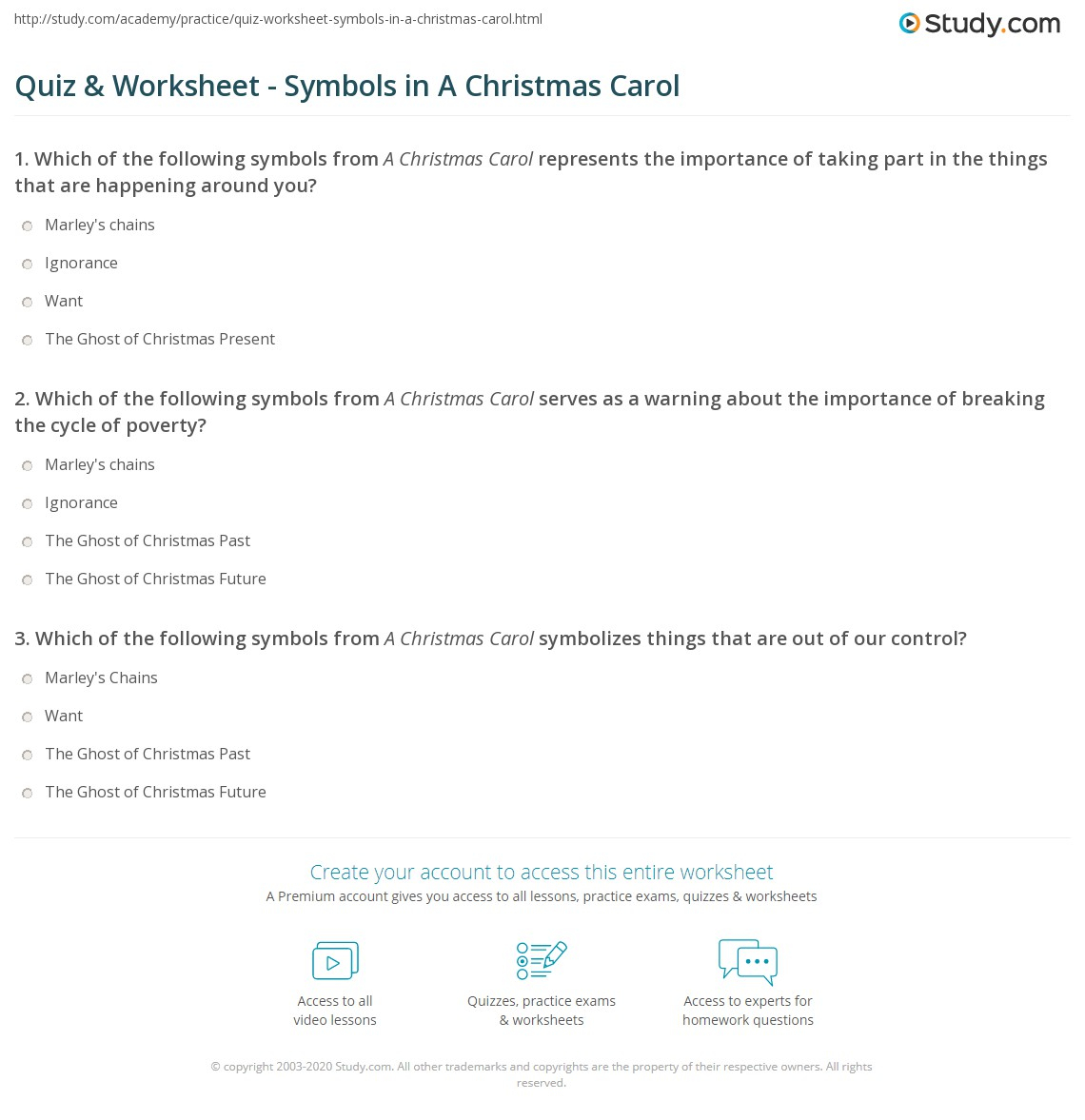 Quiz & Worksheet - Symbols In A Christmas Carol | Study