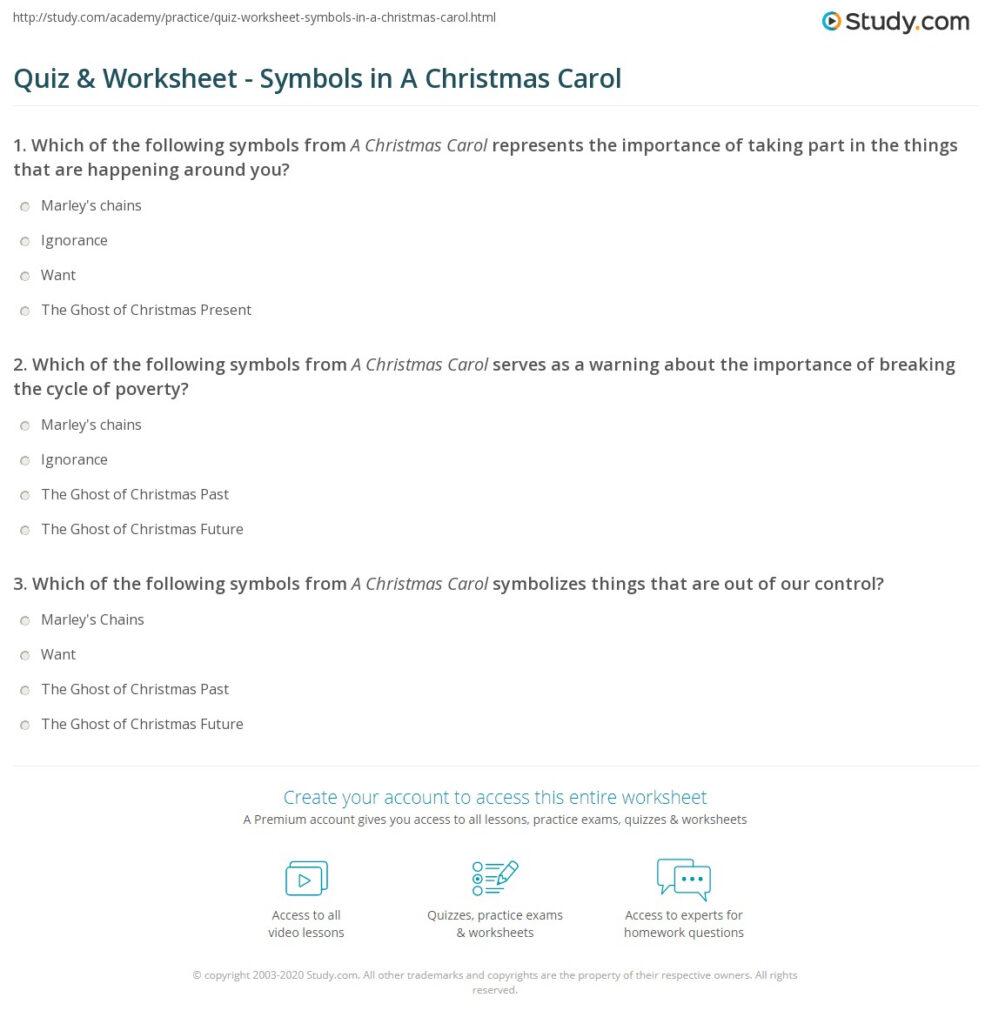 Quiz & Worksheet   Symbols In A Christmas Carol   Study