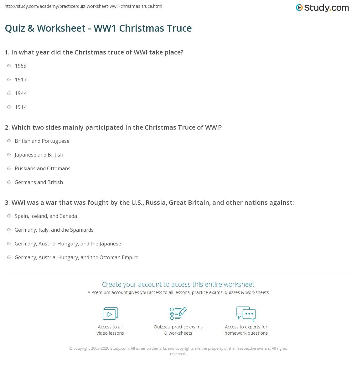 Quiz & Worksheet - Ww1 Christmas Truce | Study