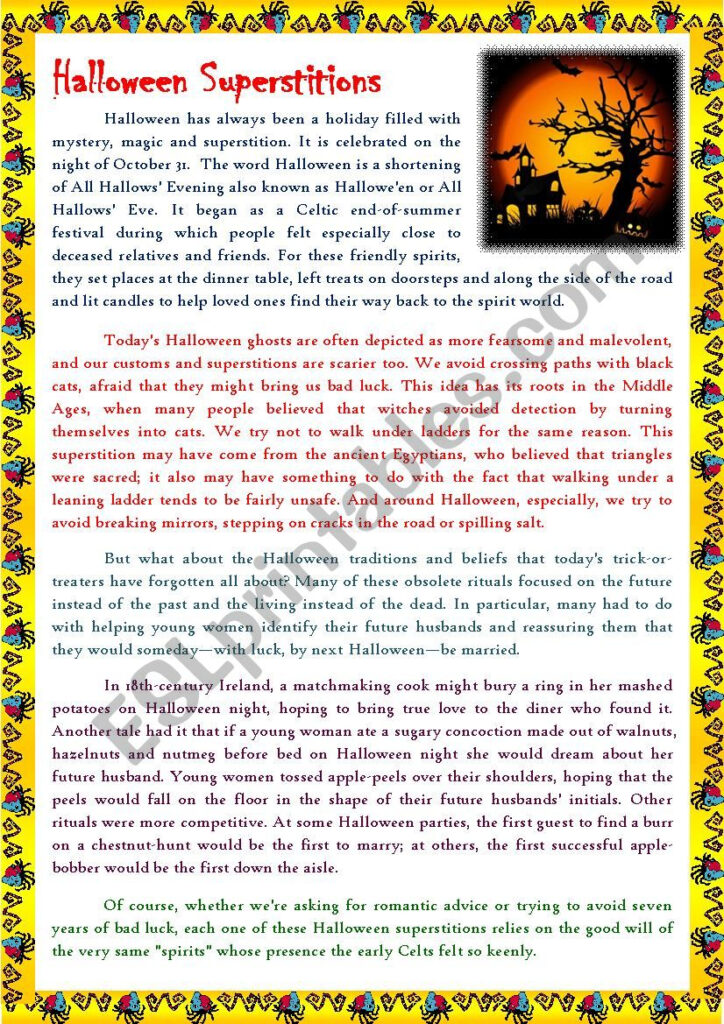 Reading Articles   Halloween Superstitions   Esl Worksheet