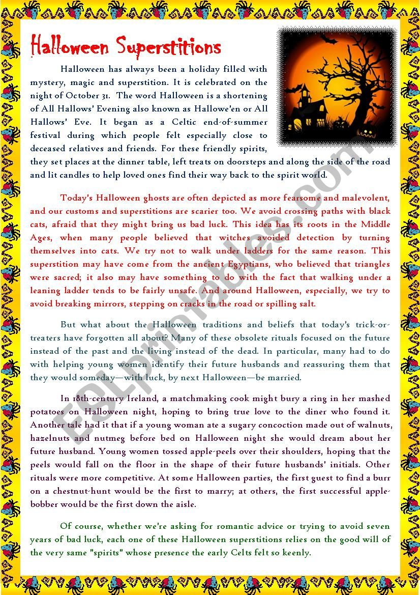Reading Articles - Halloween Superstitions - Esl Worksheet