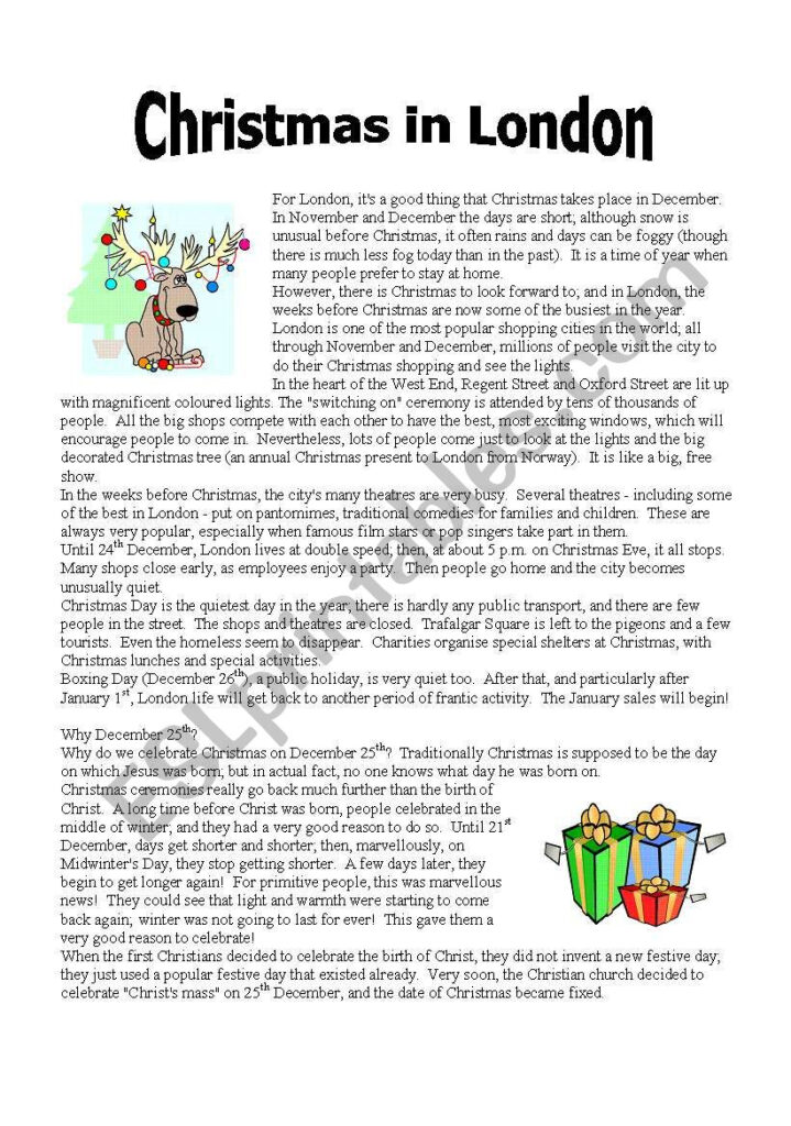 Reading: Christmas In London (Part 1)   Esl Worksheet