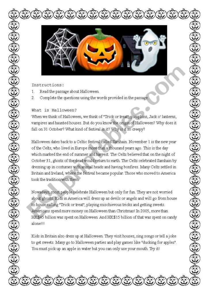 Reading Comprehension On Halloween   Esl Worksheetmj Ay2002