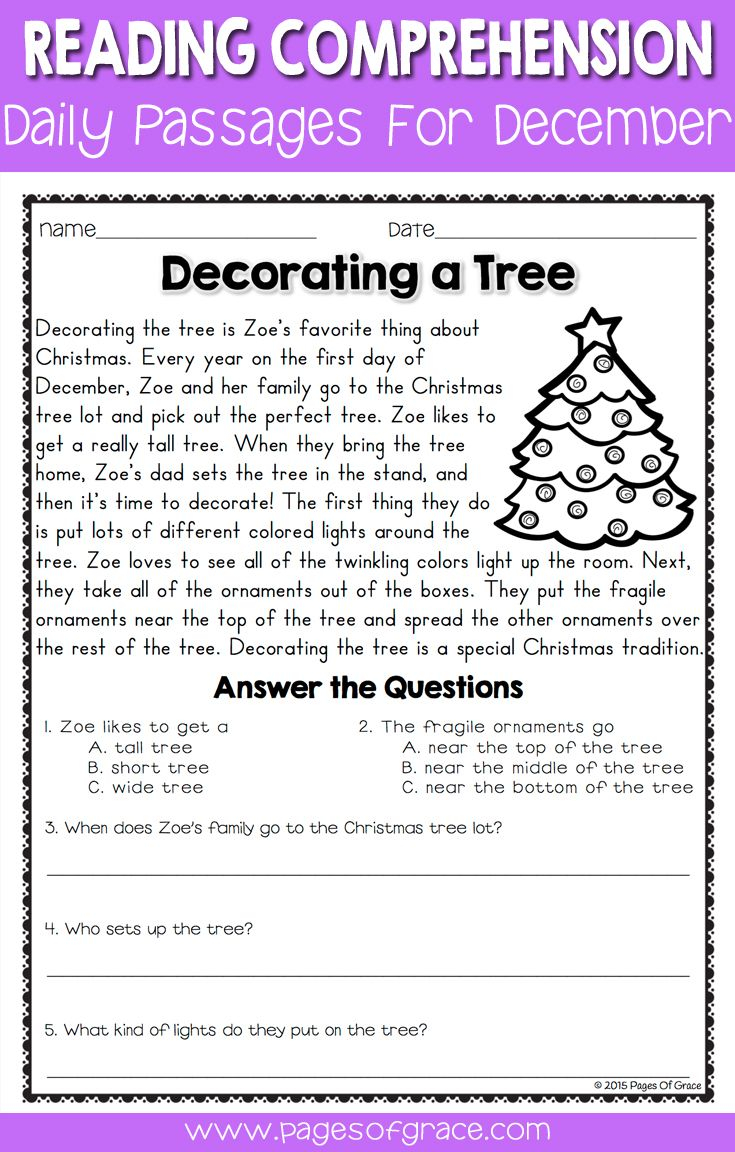 Reading Comprehension Passages And Questions For December
