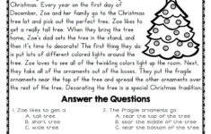 Christmas Reading Comprehension Worksheets 4th Grade