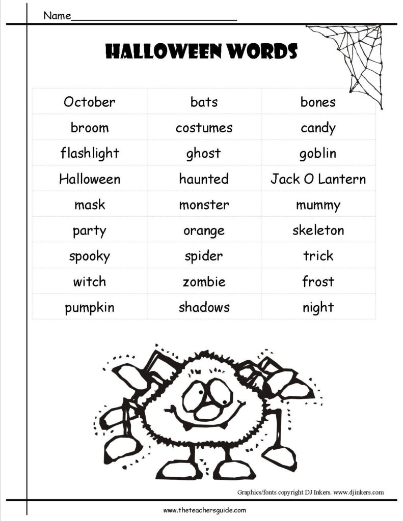 Reading Worksheets: Worksheets Halloween Printouts From The