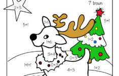 Christmas Math Addition Color By Number Worksheet
