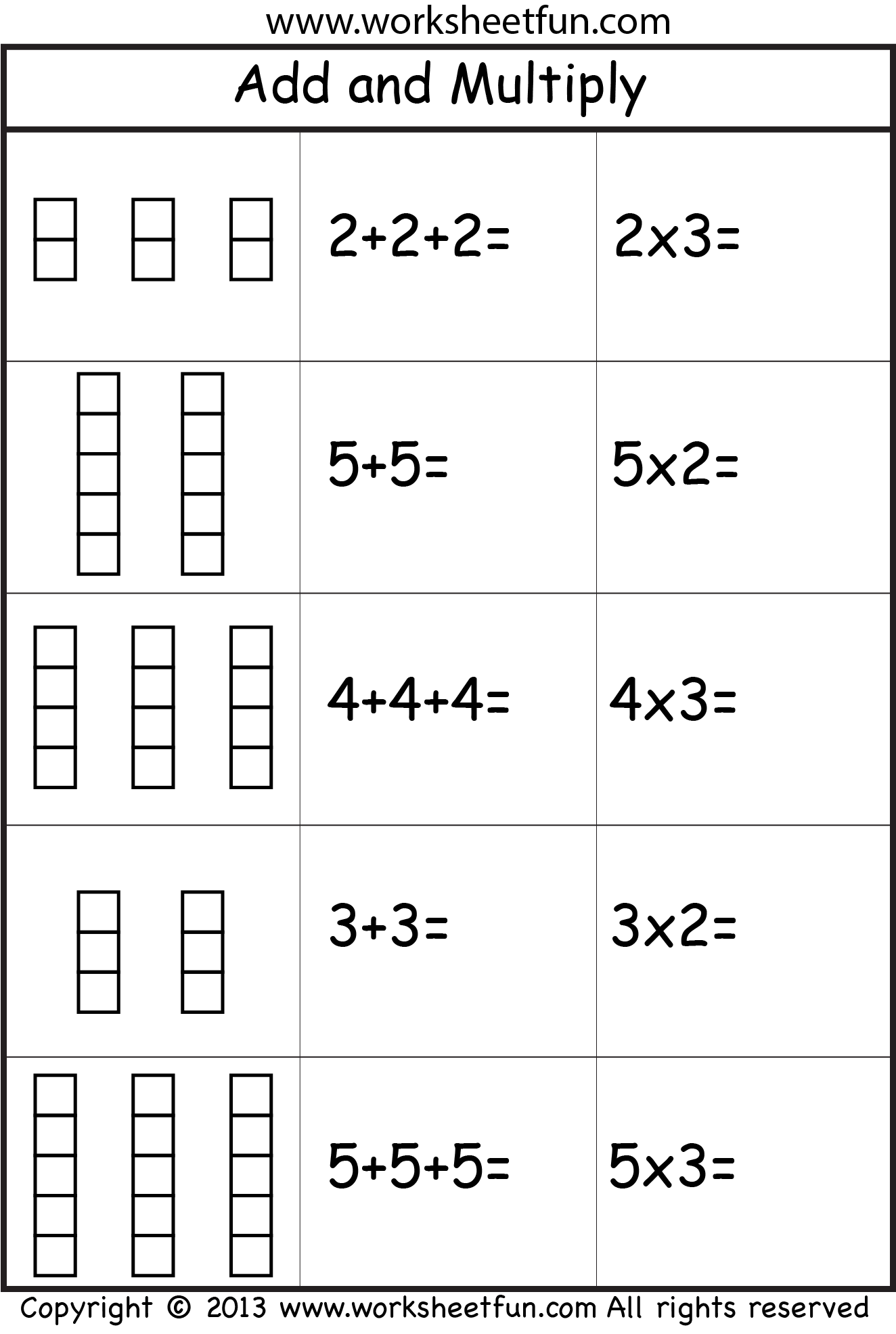 Repeated Addition   Repeated Addition Worksheets, Repeated