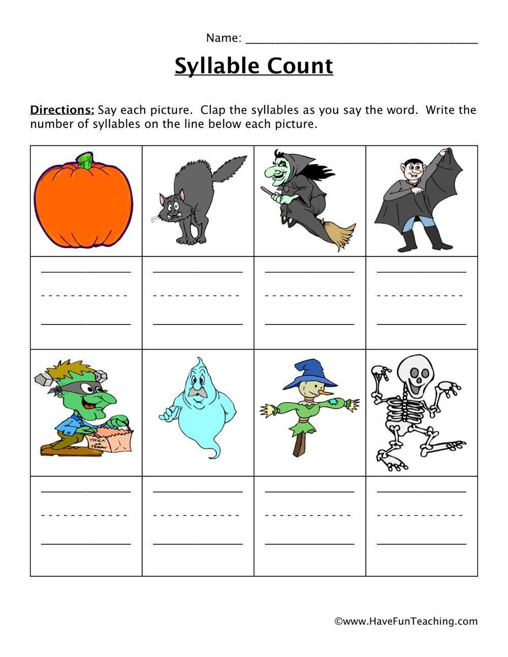 Resources   English   Worksheets   Syllable Worksheet
