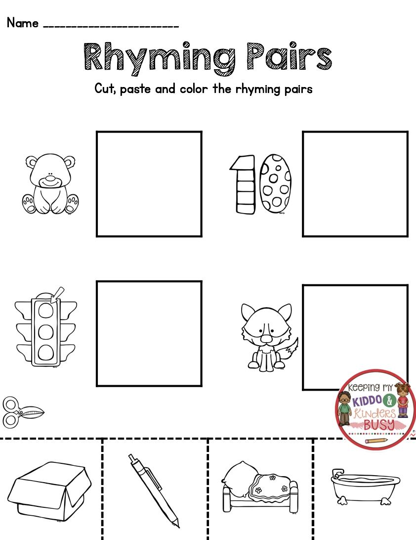 Rhyming - Back To School In Kindergarten Worksheet