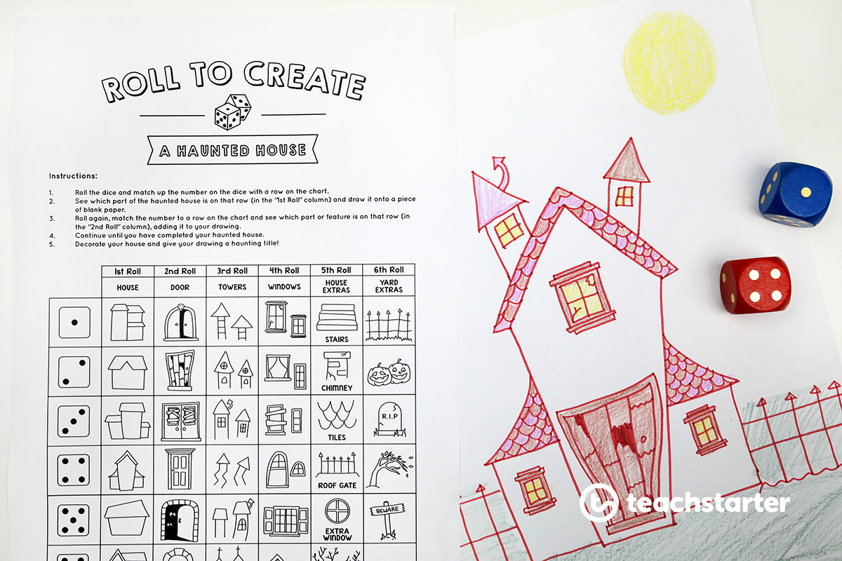 """Ridiculously Fun """"roll A Story"""" Printable Halloween Worksheets"""