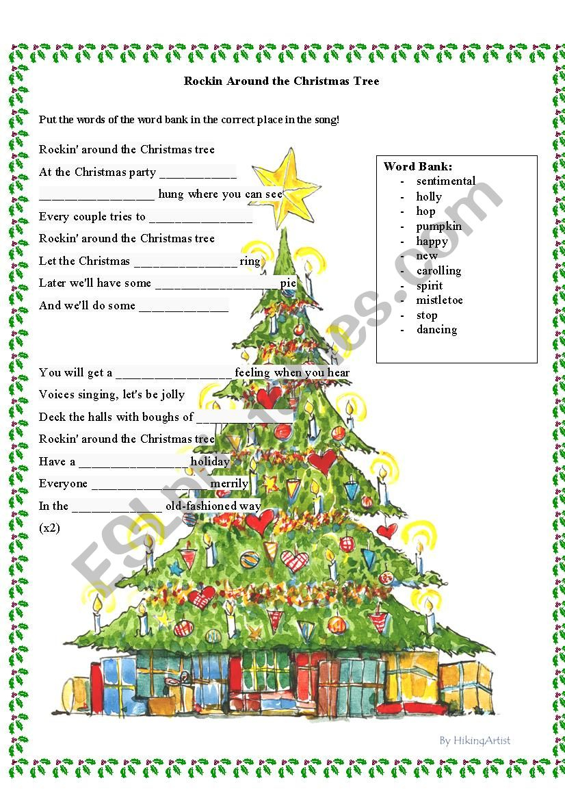 Rockin´ Around The Christmas Tree - Esl Worksheetalyra3
