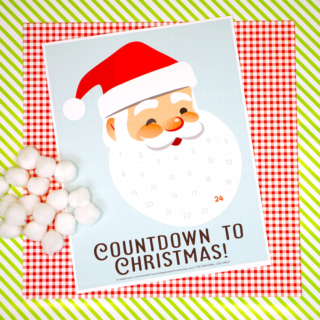 Santa Christmas Countdown Printable   Happiness Is Homemade