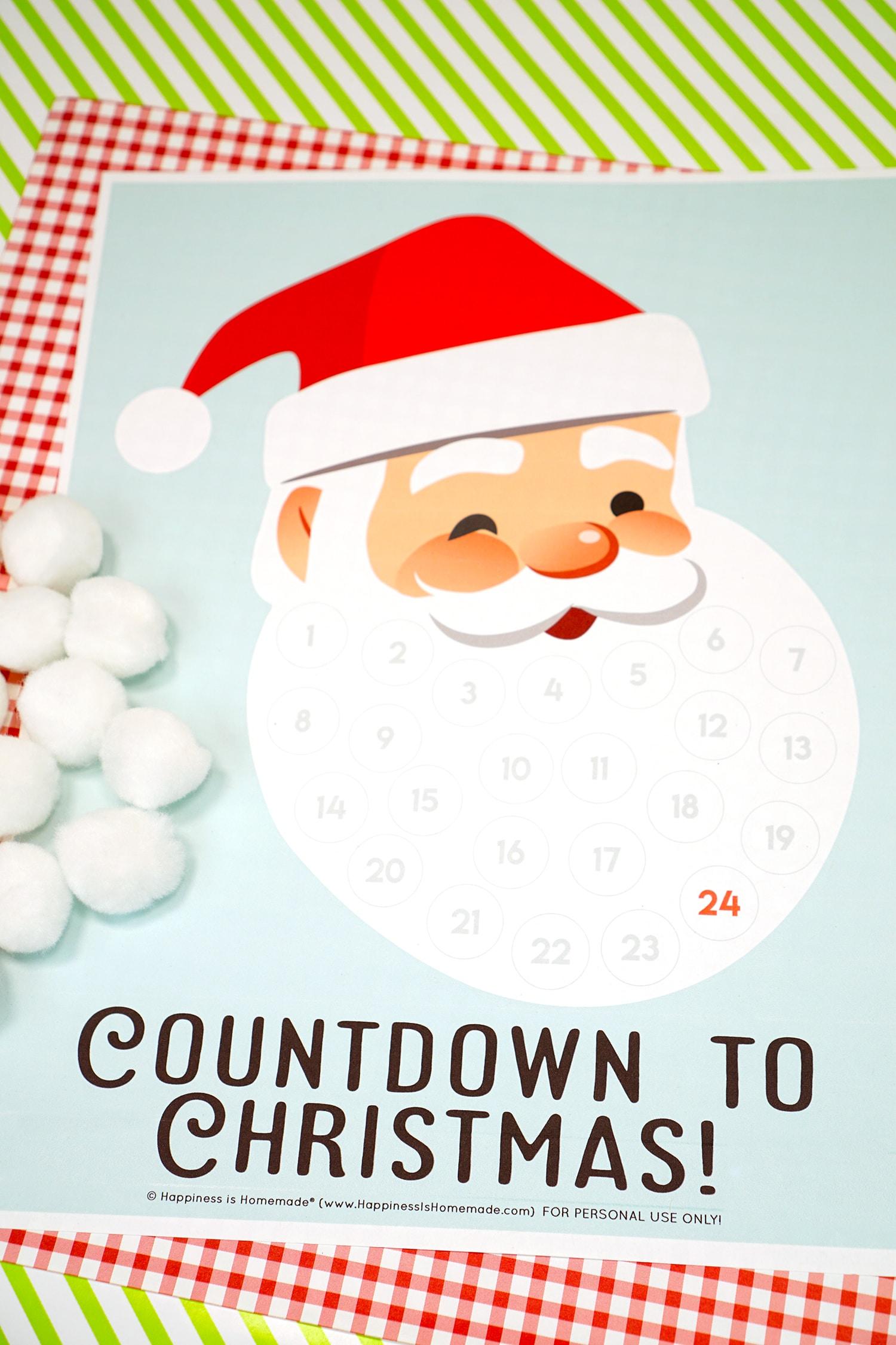 Santa Christmas Countdown Printable - Happiness Is Homemade