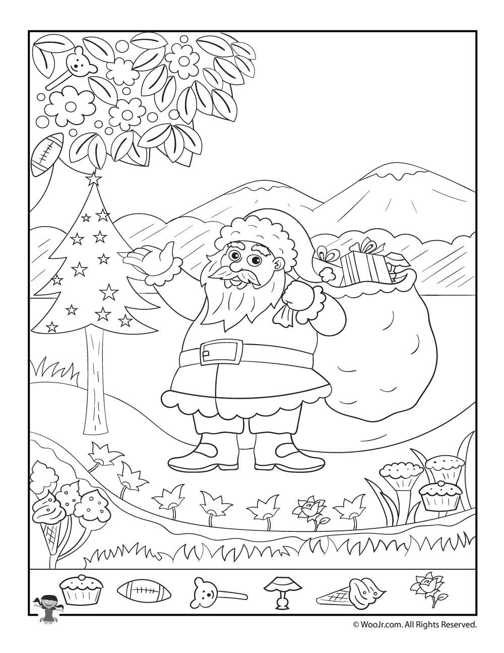 Santa Claus Christmas Hidden Picture Printable Page   Woo