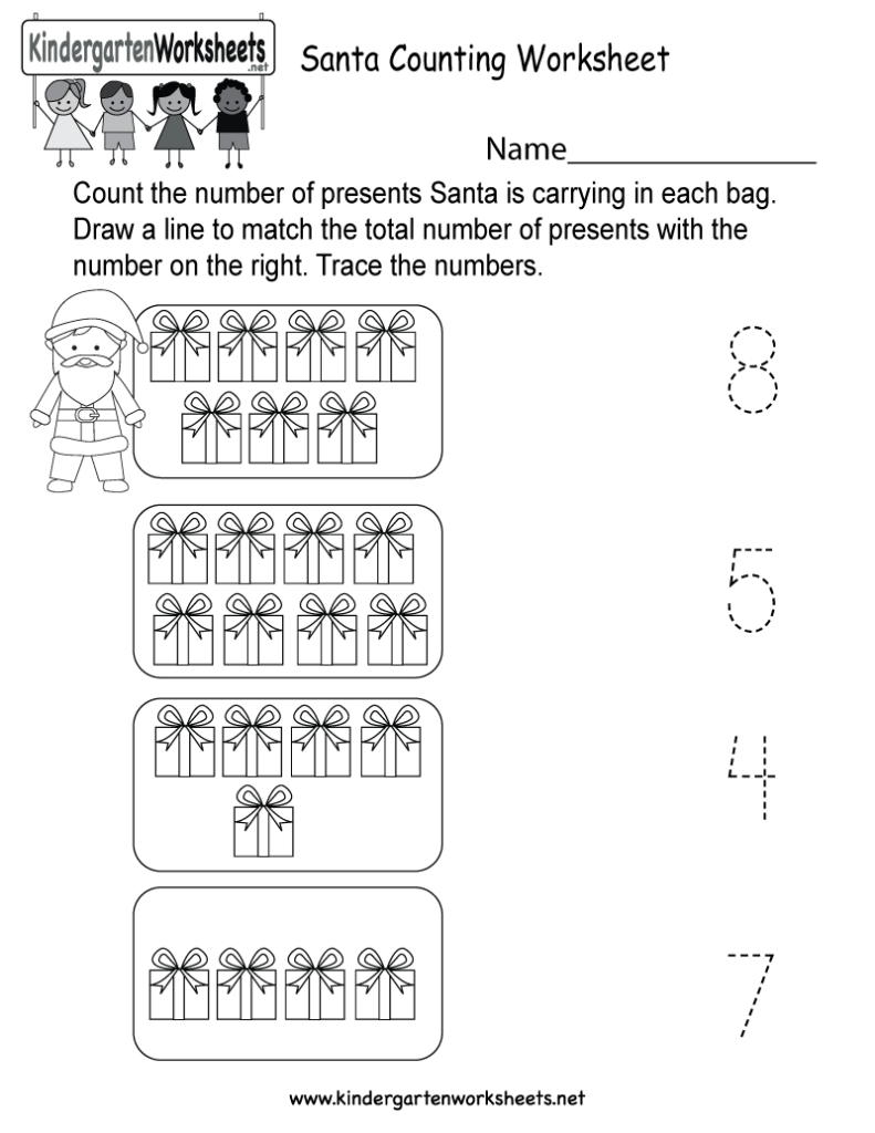 Santa Counting Worksheet   Free Kindergarten Holiday
