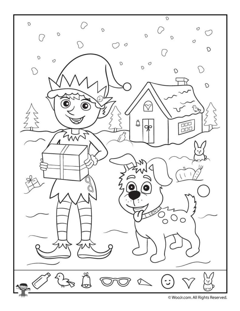 Santa's Helpers Christmas Hidden Picture Page | Woo! Jr