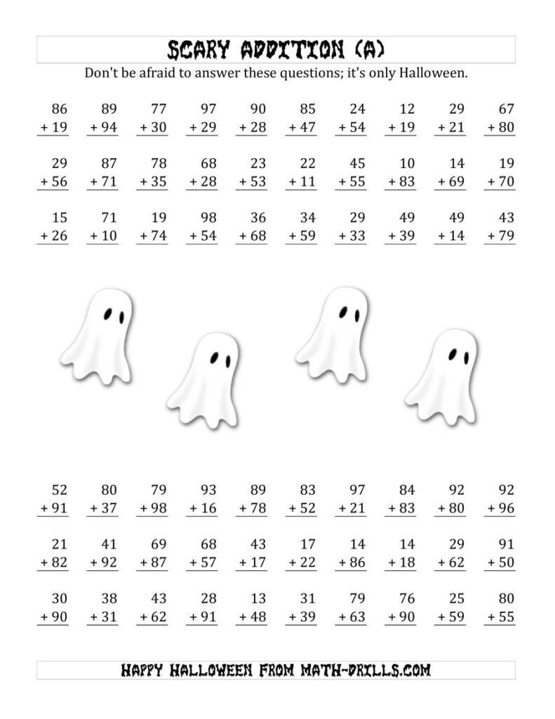 Scary Addition With Double Digit Numbers (A)