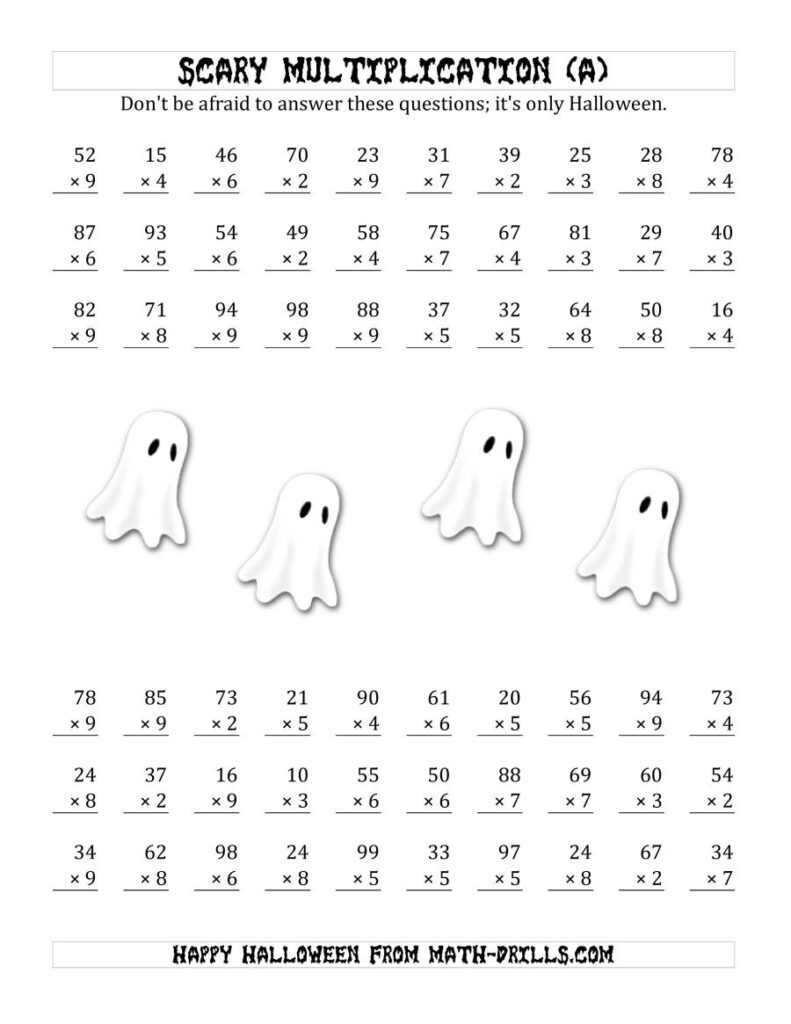 Scary Multiplication (2 Digit1 Digit) (A)