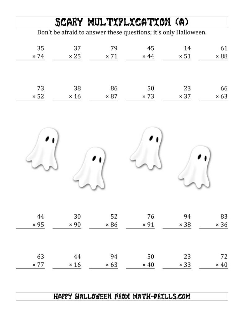 Scary Multiplication (2 Digit2 Digit) (A)