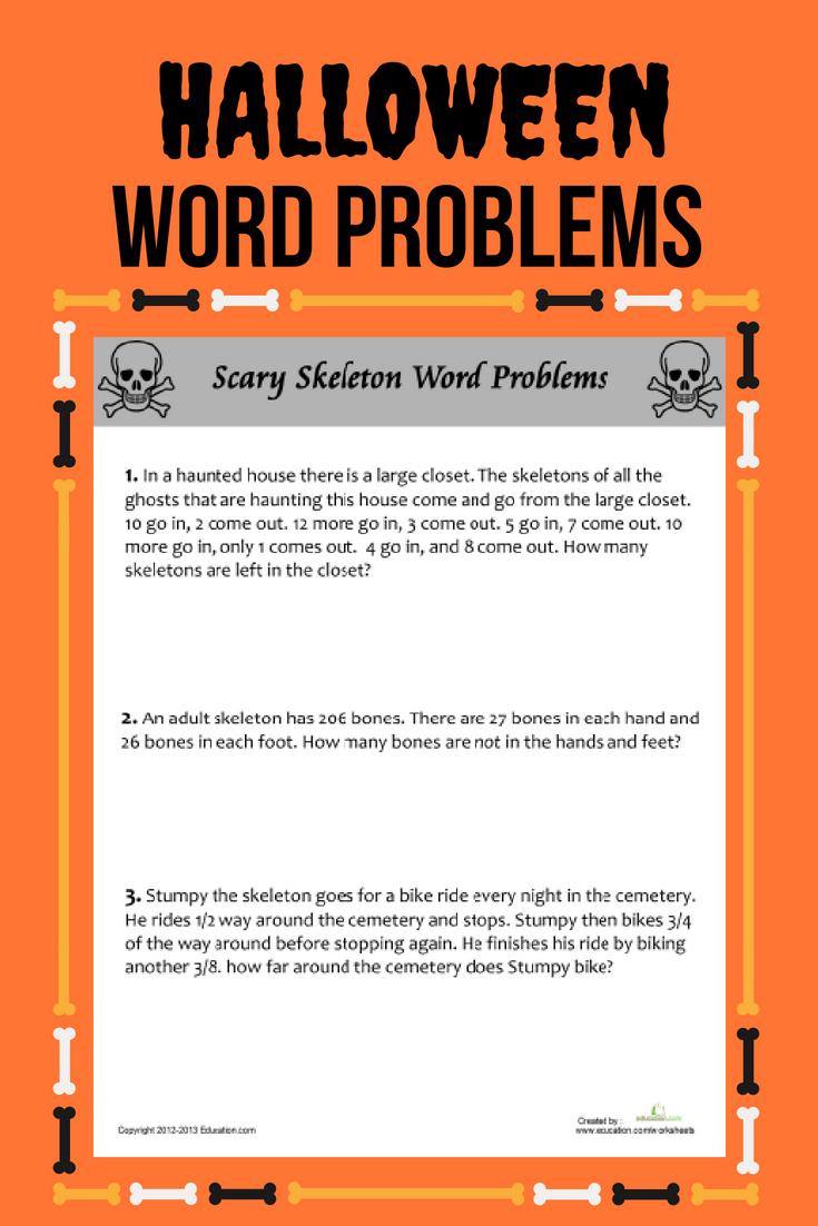 Scary Skeleton Word Problems   Worksheet   Education