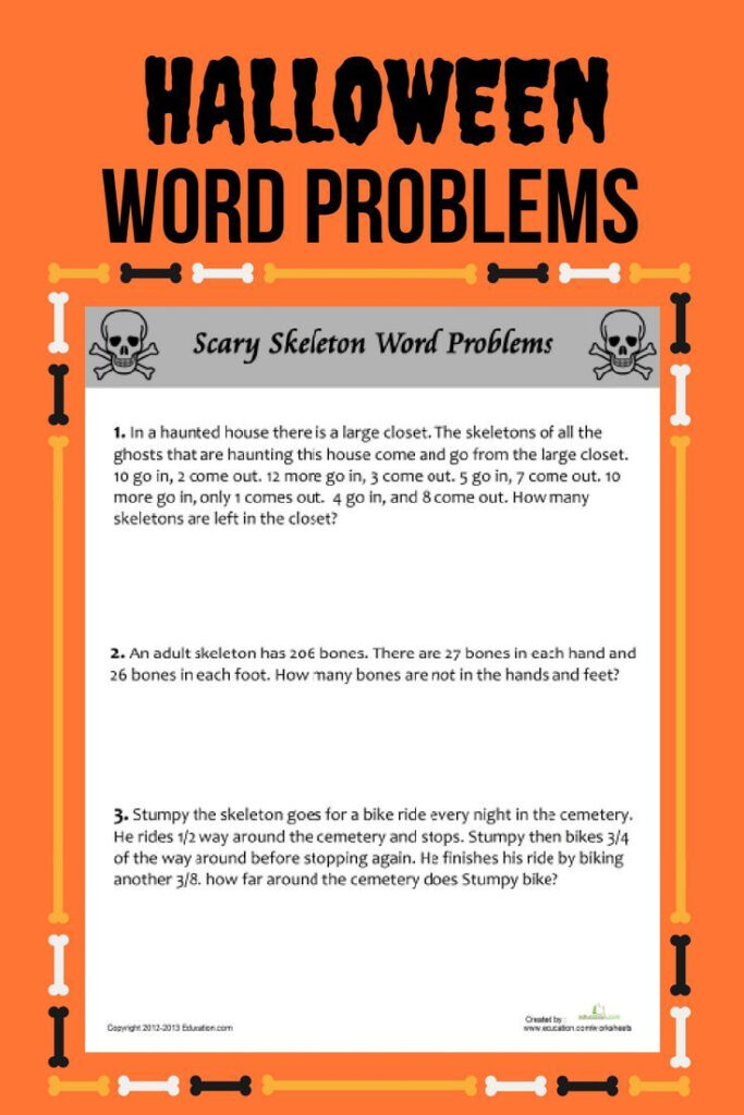 Scary Skeleton Word Problems | Worksheet | Education