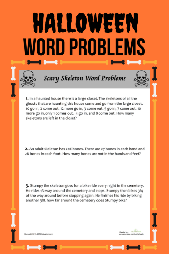 Scary Skeleton Word Problems | Worksheet | Education