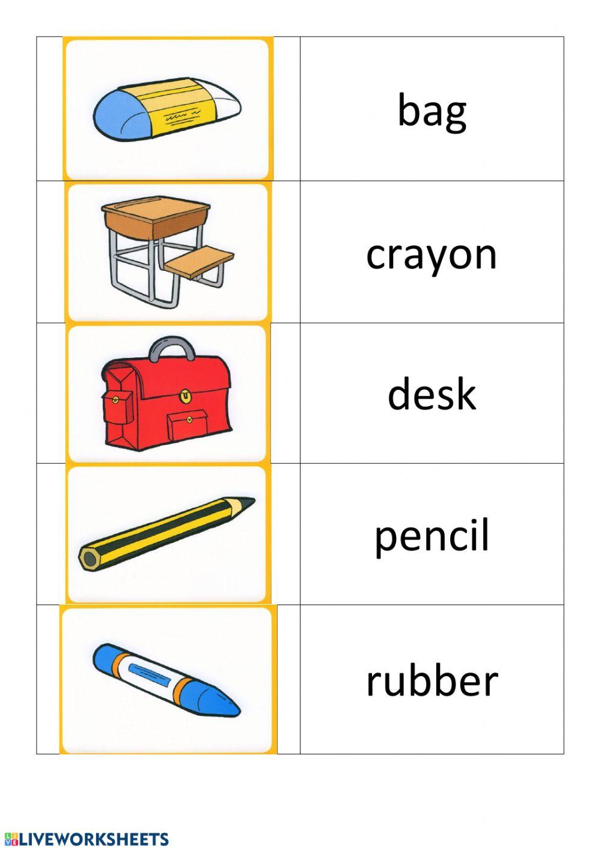 School Things-Alphabetize Worksheet