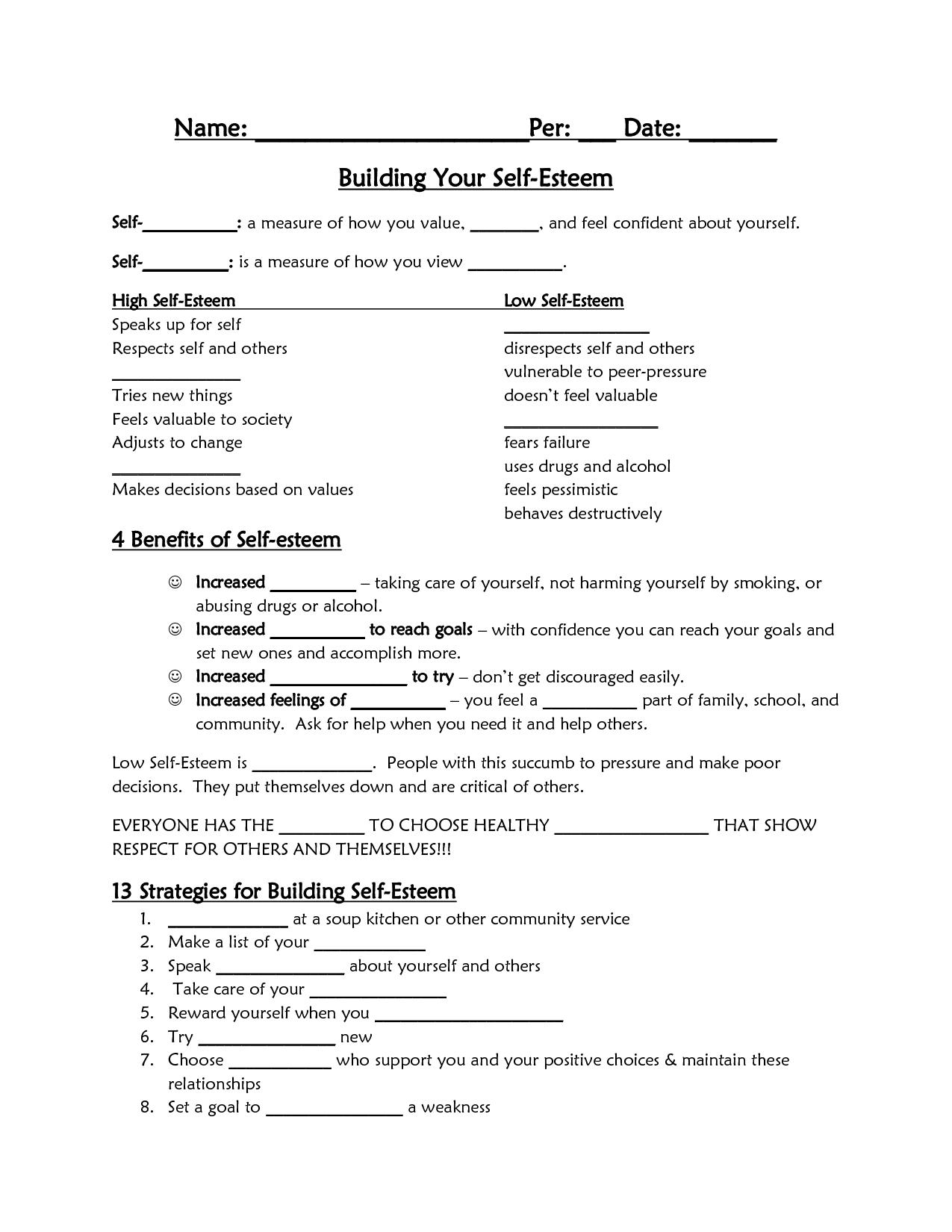 Self-Esteem Worksheet - Google Search | Self Esteem