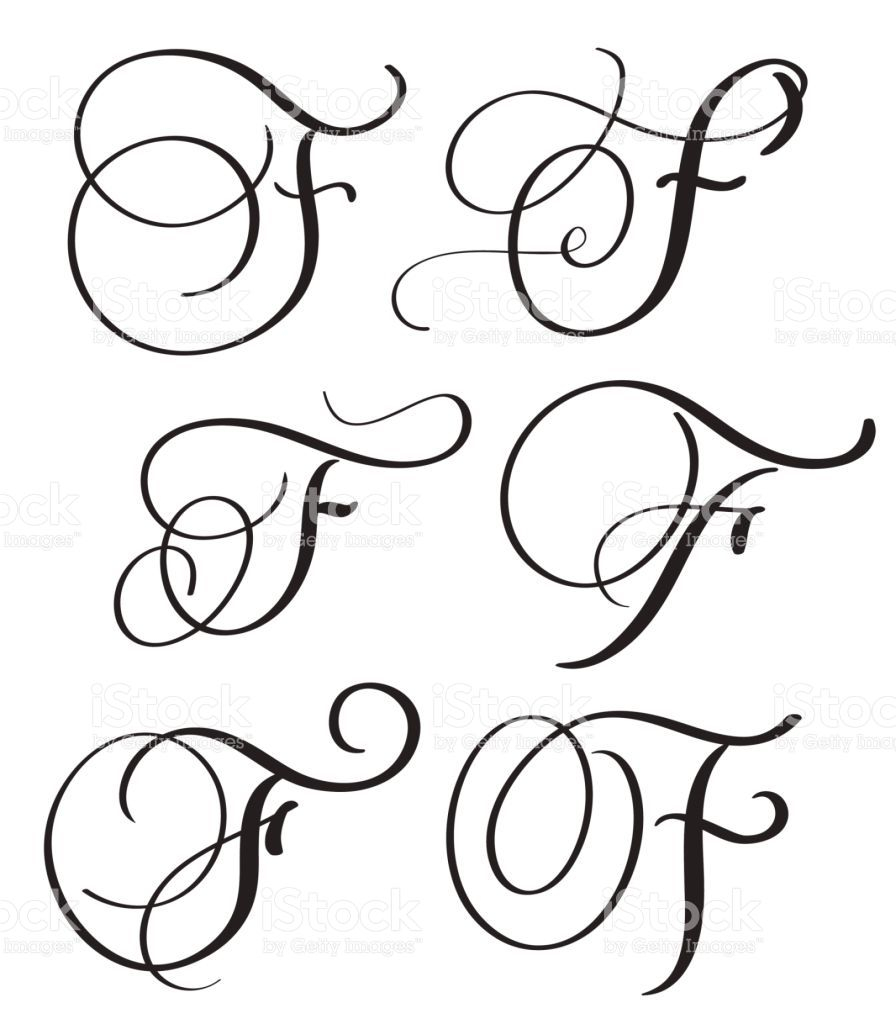 Set Of Art Calligraphy Letter F With Flourish Of Vintage