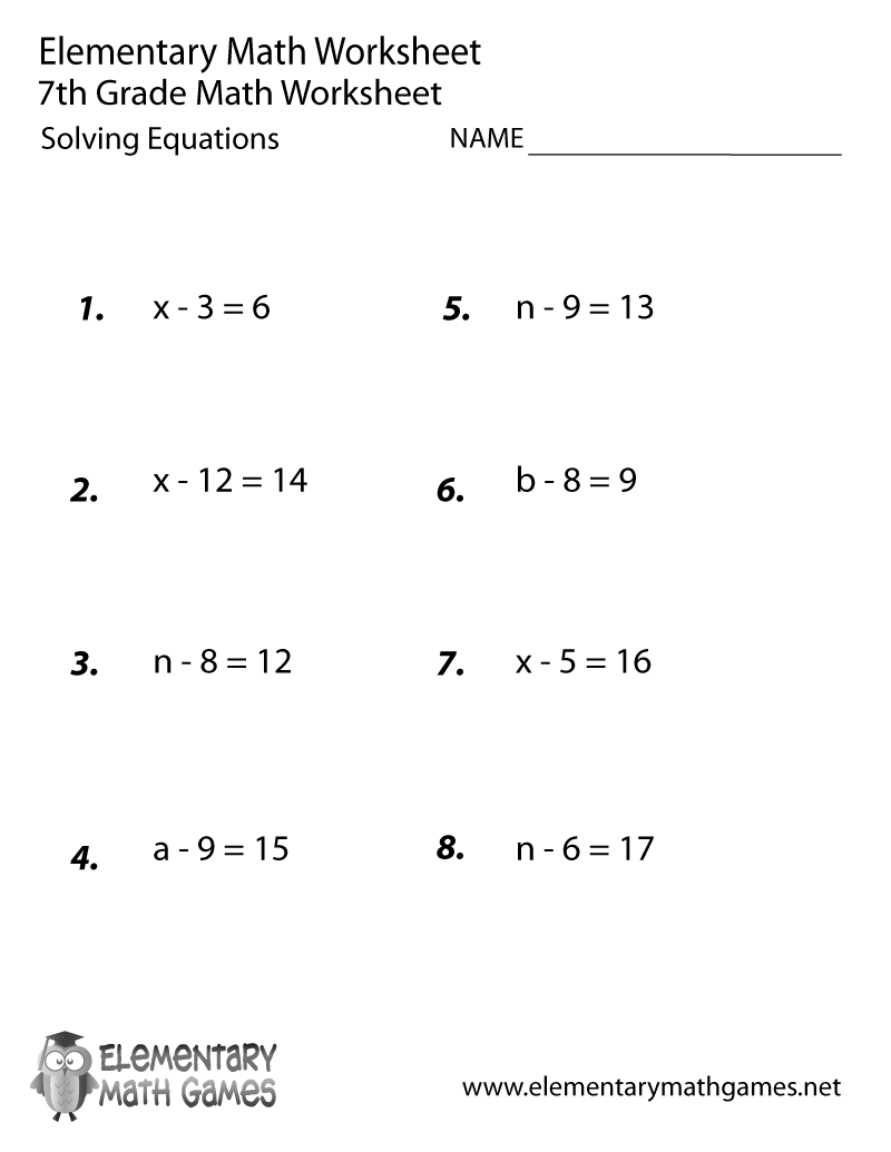 Seventh Grade Solving Equations Worksheet Printable | 7Th