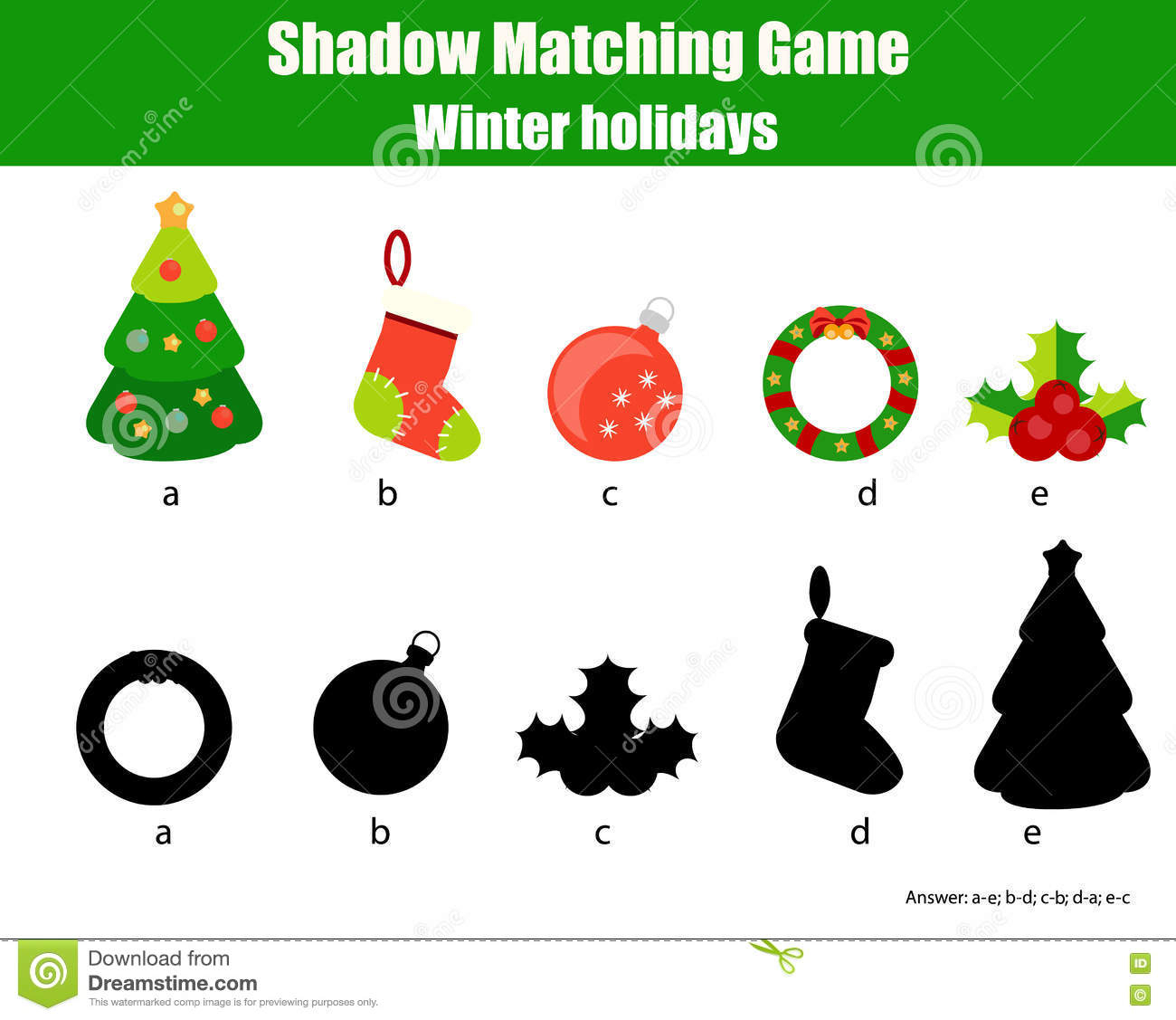 Shadow Matching Game. Christmas, Winter Holidays Theme, Kids