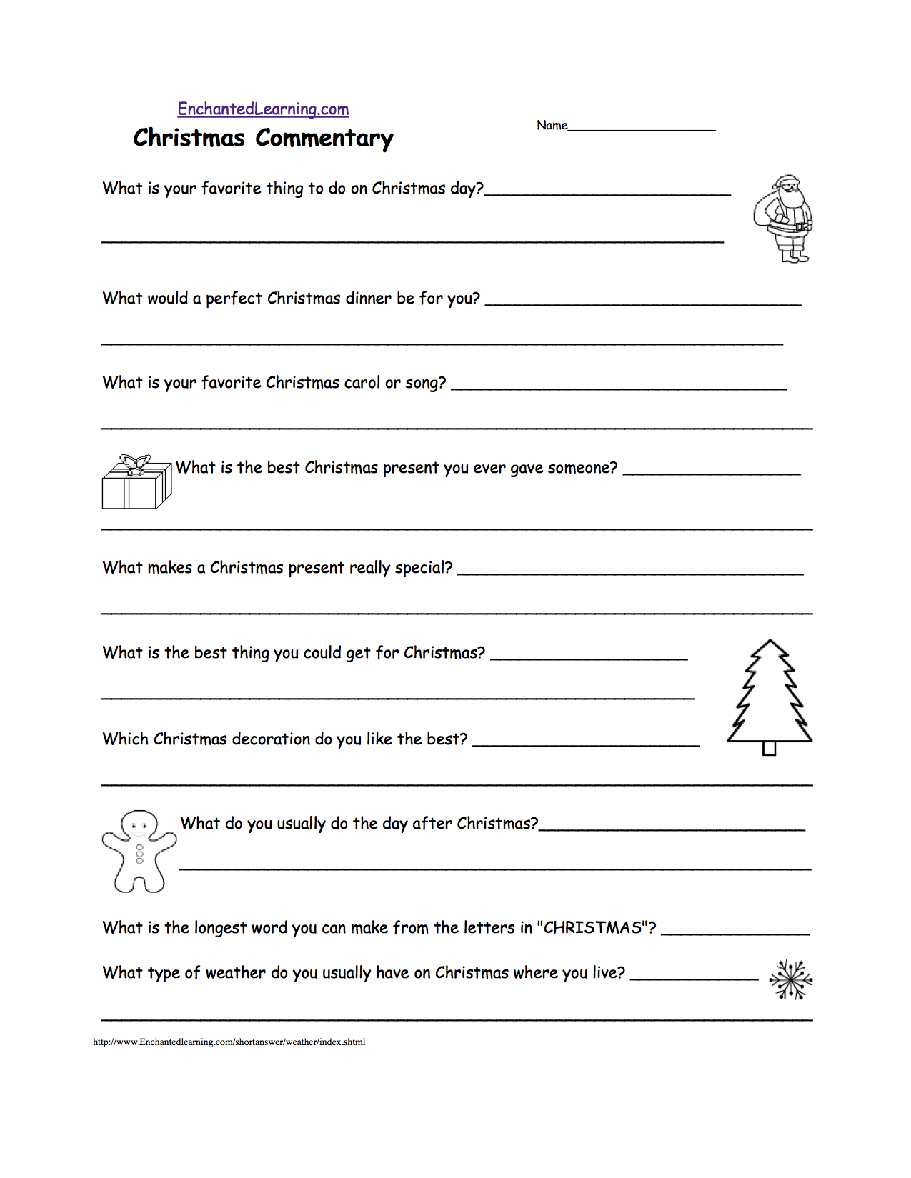 Short Answer Quizzes - Printable - Enchantedlearning