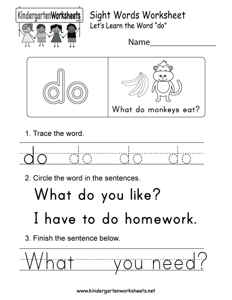 Sight Word (Do) Worksheet   Free Kindergarten English