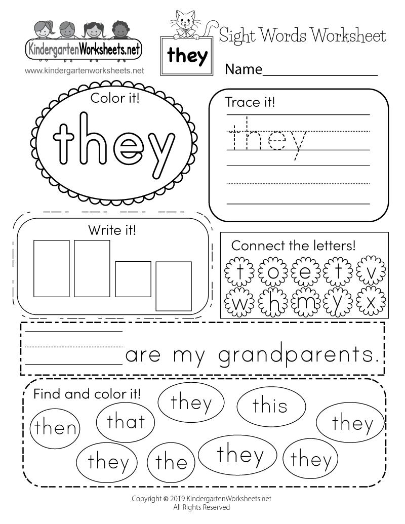 Sight Word (They) Worksheet - Free Kindergarten English